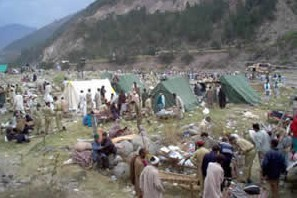 Tent cities are to be found throughout the area
