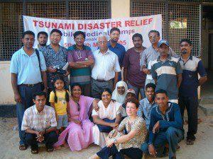 Medical Team gathers outside a clinic in Sri Lanka.