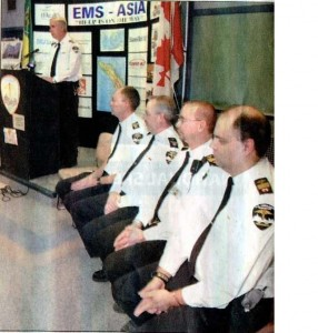 CMAT Volunteers at press conference in Saskatoon, Saskatchewan, Canada giving details of their mission to Indonesia. (Photo from The StarPhoenix, Saskatchewan, Canada, January 14, 2005).