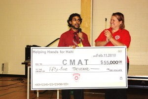 Mr. Jeewan Chanicka, teacher at Donald Cousens Primary School, and Director of the Helping Hands program from York Region District School board presents CMAT Executive Director Valerie Rzepka with a cheque for $55,000 on March 10, 2010.