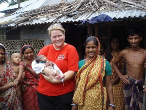 CMAT Field Medical Coordinator Valerie Rzepka visits a new mother and her baby in Gopalganj, Bangladesh.