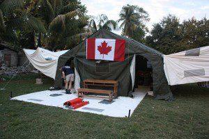 CMAT Field hospital being set up in Léogâne, Haiti.